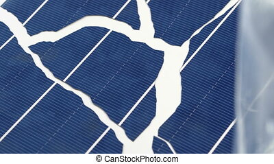 Industrial Broken Solar Cell Closeup Handheld Macro -...