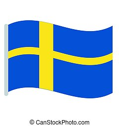 Isolated Swedish flag on a white background, Vector...