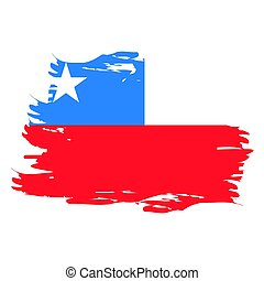 Isolated Chilean flag - Isolated grunge textured Chilean...