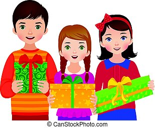 Group of children girls and boys on a white background are holding boxes christmas gifts