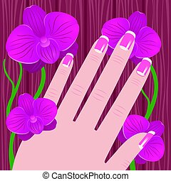 Hand of a woman with French manicure on a tree and pink orchid background