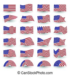 Independence day flag set of united states american symbol wavy shape. july fourth vector logo, illustration.