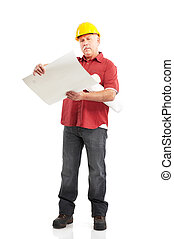 Builder - Mature handsome builder. Isolated over white...