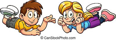 Cartoon kids - Happy cartoon kids laying down. Vector clip...