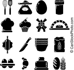 Bakery icons set, simple style - Bakery icons set. Simple...