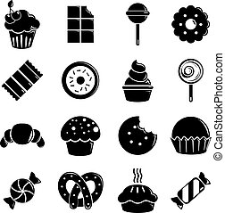 Sweets candy cakes icons set, simple style - Sweets candy...