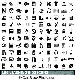 100 learning kids icons set, simple style