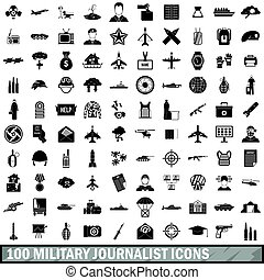 100 military journalist icons set, simple style