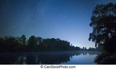 Stars movement over river - Stars movement time lapse at...