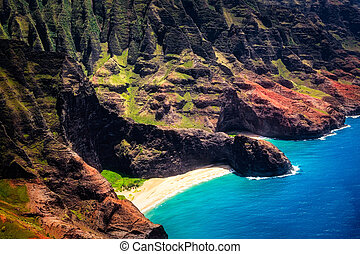Aerial landscape view of Honopu Arch at Na Pali coastline,...