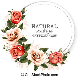 Natural vintage greeting card with a beautiful flowers....