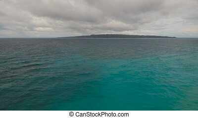 Water surface aerial view in stormy weather. Boracay island...