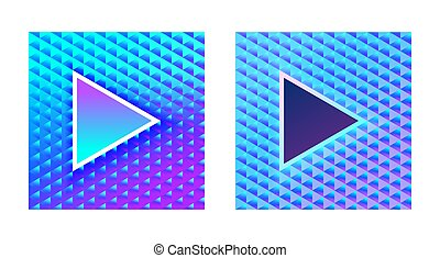 Stylish glamor play buttons on a brilliant blue pink background