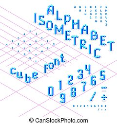 Isometric font, alphabet, abc  from blue cubes