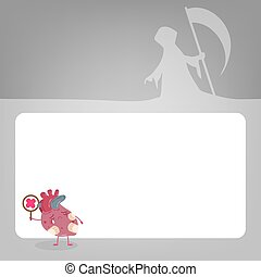 heart with health problem concept - cute cartoon heart with...