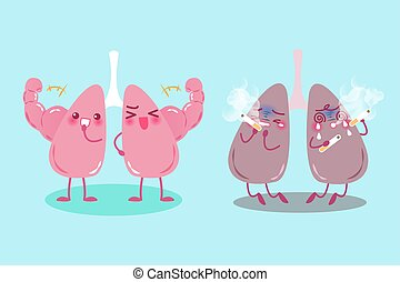lung with health problem - cute cartoon lung with health...