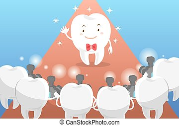 cartoon tooth with paparazzi - cute cartoon tooth with...