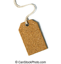 Blank price tag or gift tag on white background