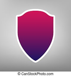 Shield sign illustration. Vector. Purple gradient icon on white paper at gray background.