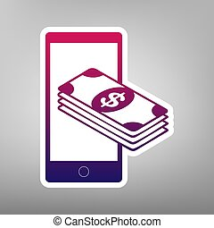 Payment, refill your mobile smart phone,. Vector. Purple...