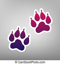 Animal Tracks sign. Vector. Purple gradient icon on white paper at gray background.