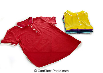 polo shirt with pad of clothes in white background
