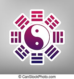 Yin and yang sign with bagua arrangement. Vector. Purple...