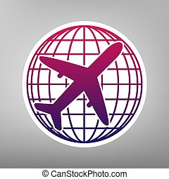 Globe and plane travel sign. Vector. Purple gradient icon on white paper at gray background.