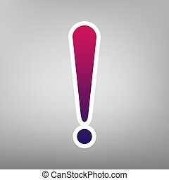 Attention sign illustration. Vector. Purple gradient icon on...