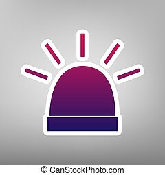 Police single sign. Vector. Purple gradient icon on white...
