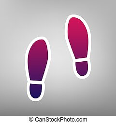 Imprint soles shoes sign. Vector. Purple gradient icon on...