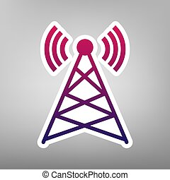 Antenna sign illustration. Vector. Purple gradient icon on white paper at gray background.