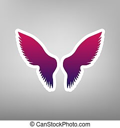 Wings sign illustration. Vector. Purple gradient icon on white paper at gray background.
