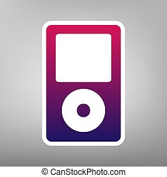 Portable music device. Vector. Purple gradient icon on white...