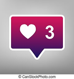 Like and comment sign. Vector. Purple gradient icon on white paper at gray background.