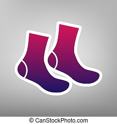 Socks sign. Vector. Purple gradient icon on white paper at...