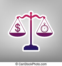 Stopwatch and dollar symbol on scales. Vector. Purple gradient icon on white paper at gray background.