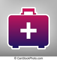 Medical First aid box sign. Vector. Purple gradient icon on white paper at gray background.
