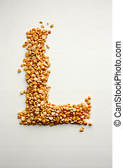 The letter L. English alphabet from cereals