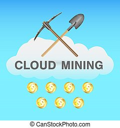bitcoin cloud mining with pickaxe and shovel on cloud logo