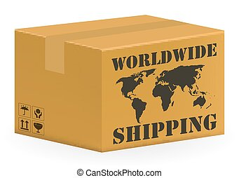 real corrugated carton box with worldwide shipping