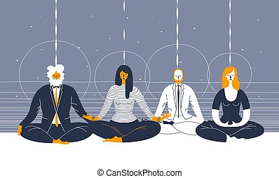 Several office workers in smart clothing sit in yoga position and meditate against abstract blue background. Concept of business meditation and team building activity. Vector illustration for poster.