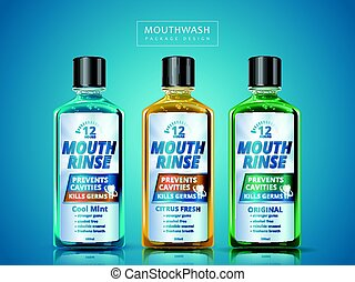 mouth rinse package design - different flavors of mouth...