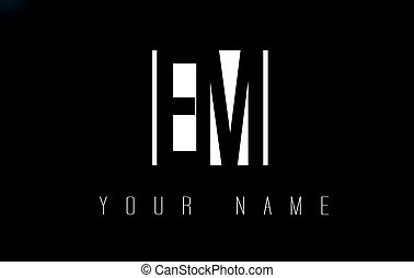 EM Letter Logo With Black and White Negative Space Design. -...