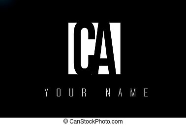 CA Letter Logo With Black and White Negative Space Design. -...