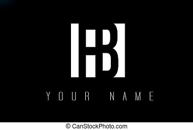 FB Letter Logo With Black and White Negative Space Design. -...