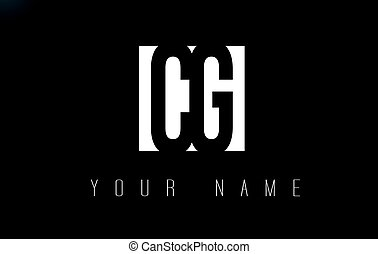 CG Letter Logo With Black and White Negative Space Design. -...