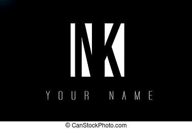 NK Letter Logo With Black and White Negative Space Design. -...
