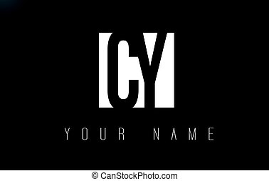 CY Letter Logo With Black and White Negative Space Design. -...