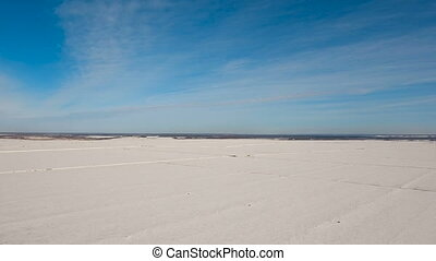 Winter snow field. Winter landscape. - The field covered...